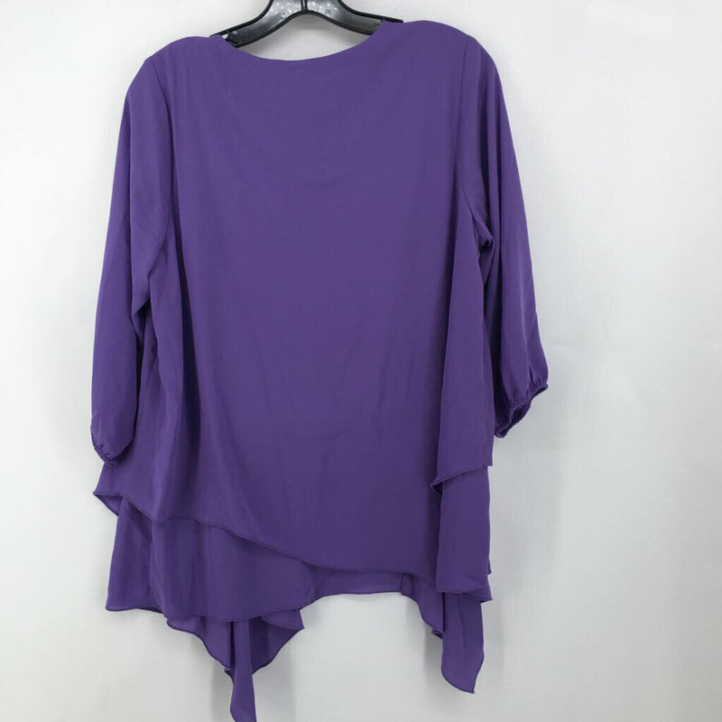 Sz XS R61 3/4 slv asymetric top