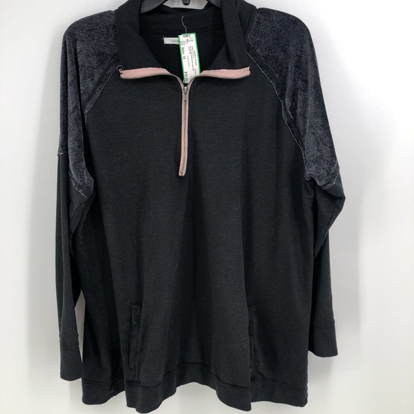 l/s 1/4 zip w/pockets pull over
