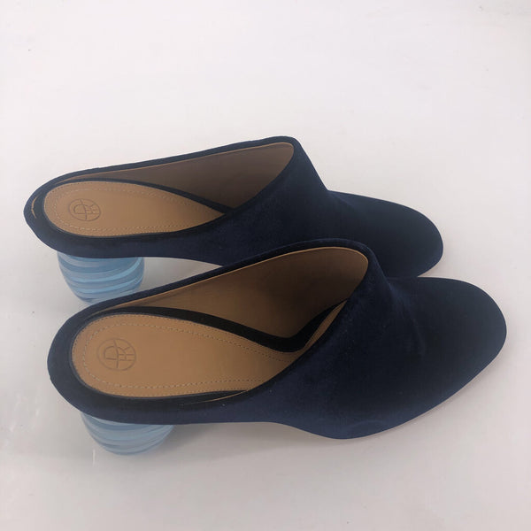 40 the Row dark navy velvet glass heel