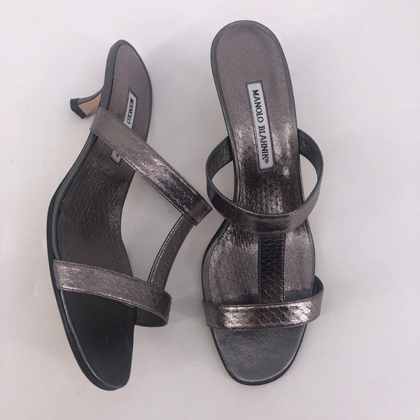 "41 strappy pewter open sandal 2"" kitten"