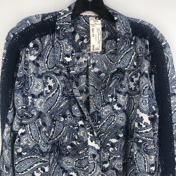 3/4 slv paisley button down