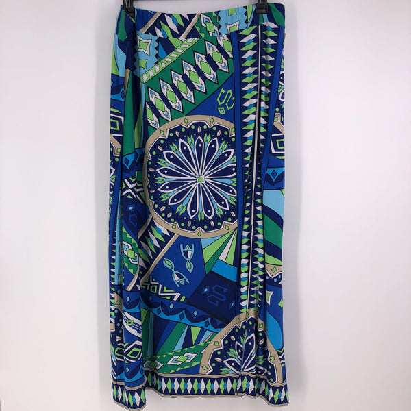 sz XL pull on printed maxi skirt