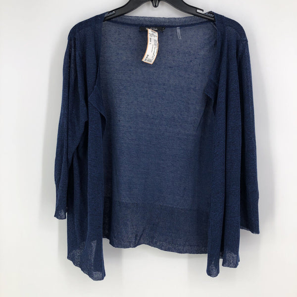 3/4 slv sheer open cardigan
