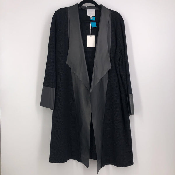 Sz 0X XL black jkt lthr trim