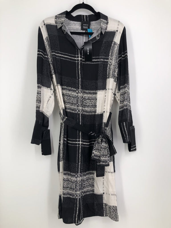 Sz 14 silk l/s plaid dress