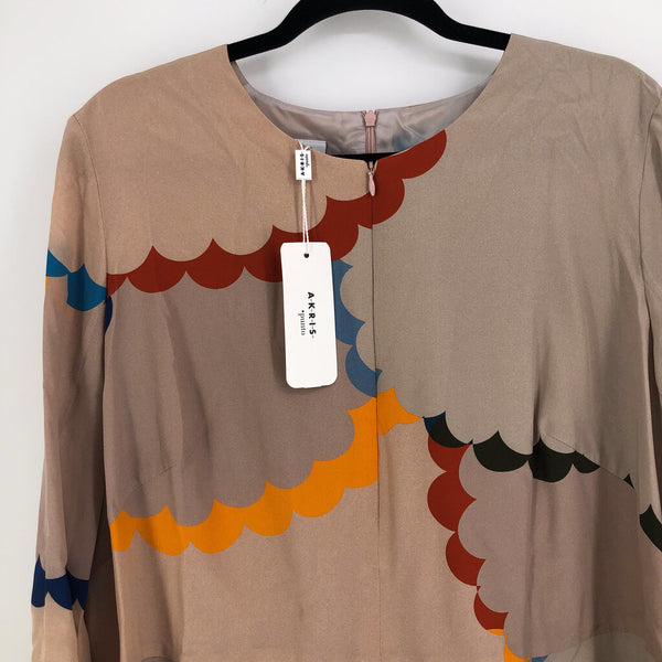 Sz 16 100% silk l/s print dress