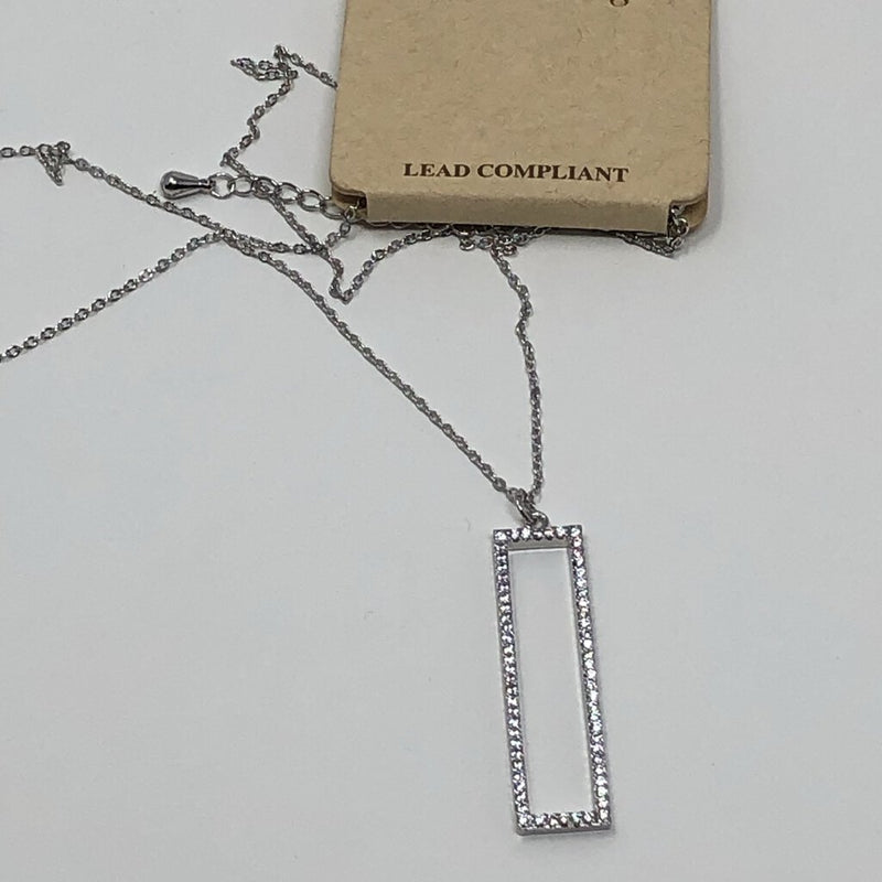 silver cubic zerconia rectangle necklace