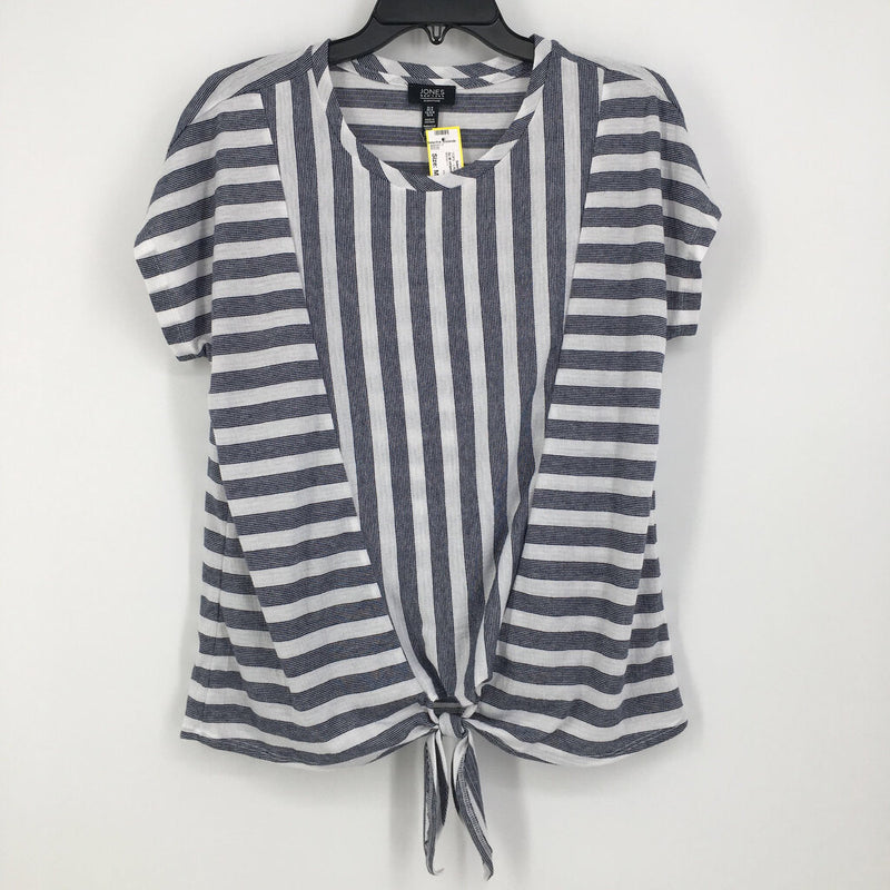 Sz M striped tie front s/s