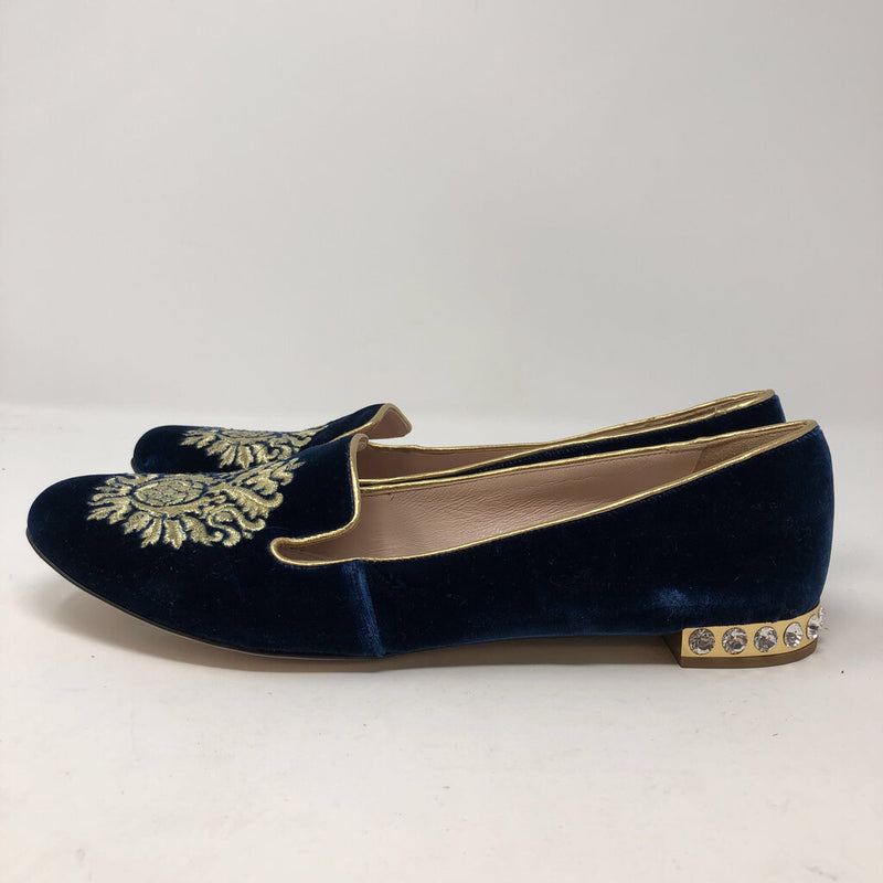 Miu Miu SZ 41 velvet slip on flats with jewels