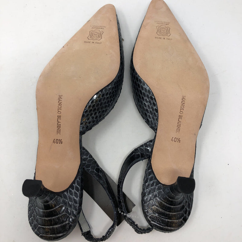 Manolo Blahnik SZ 40.5 slip on heels with buckle