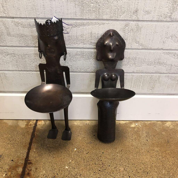 2 piece man and woman candle holders