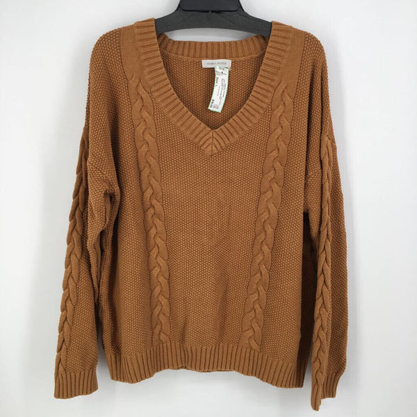 Sz L cable knit l/s pull over