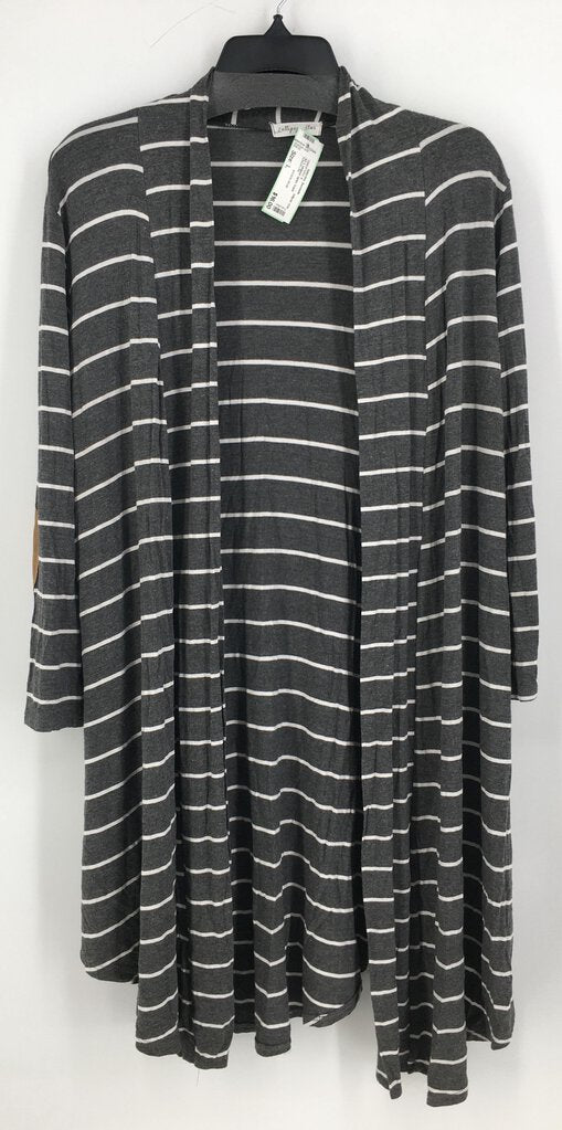 SZ L striped open front sweater
