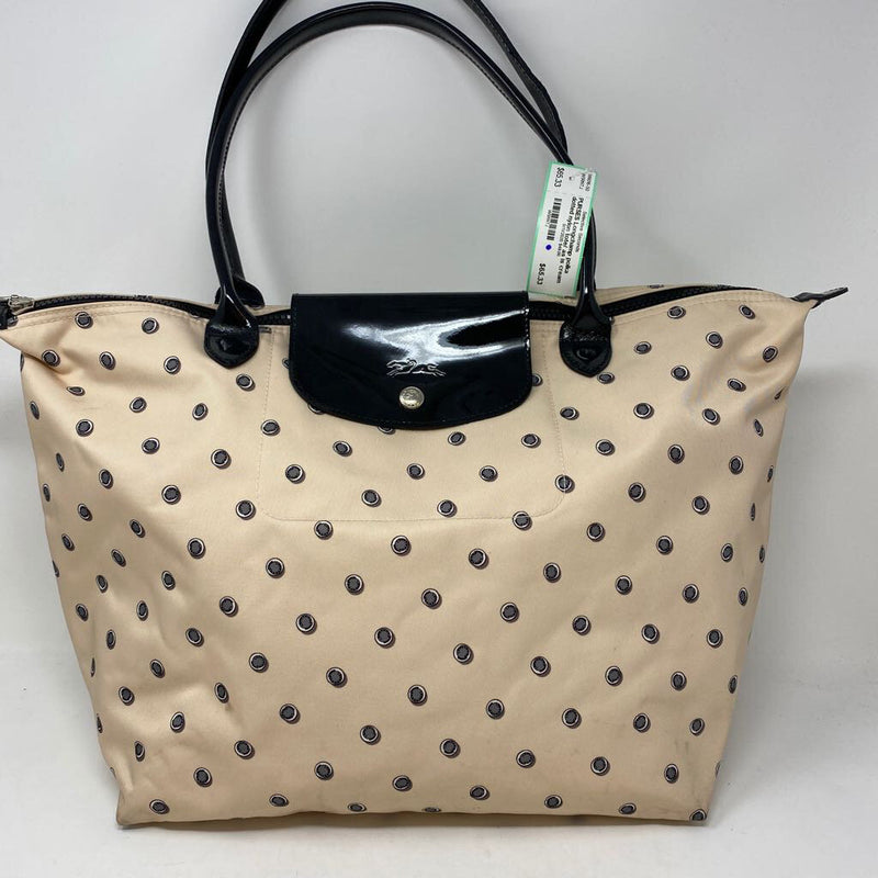 polka dotted nylon tote/ as is