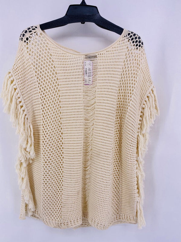 SZ XL s/s knitted sweater with fringe