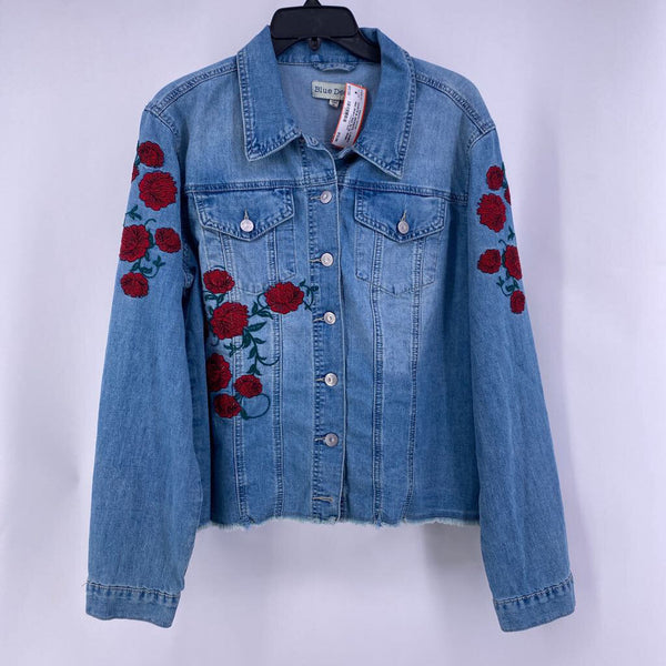 Nwt Sz XL denim button up rose embroidery