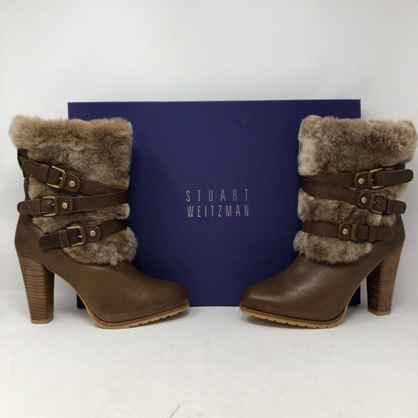 Sz 8 pelo leather & faux fur boots