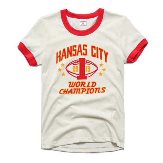 CHARLIE HUSTLE | WOMENS KC WORLD CHAMPS RINGER T-SHIRT - WHITE/RED