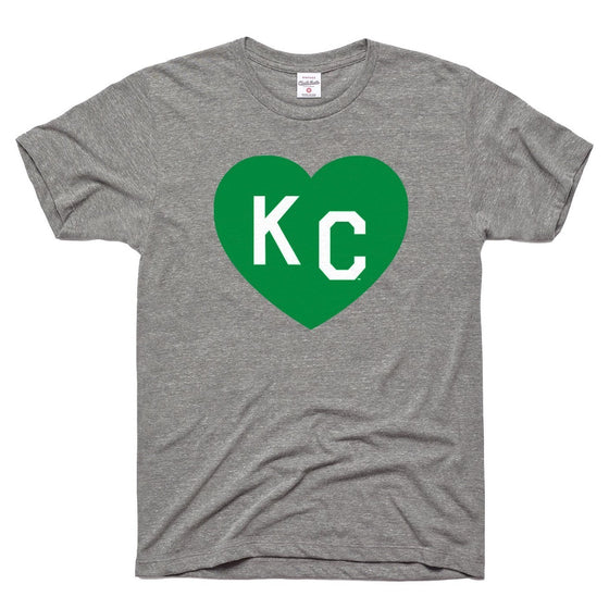 CHARLIE HUSTLE | KC HEART T-SHIRT - GREY/GREEN
