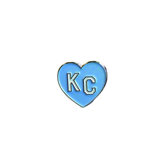 CHARLIE HUSTLE | KC HEART ENAMEL PIN - LIGHT BLUE