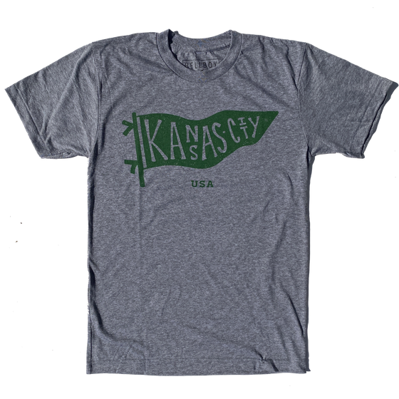 BELLBOY | KC PENNANT T-SHIRT - GREY/KELLY GREEN