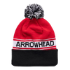 CHARLIE HUSTLE | ARROWHEAD POM BEANIE - RED & BLACK