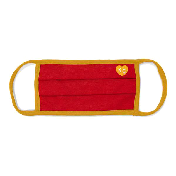 CHARLIE HUSTLE | RED AND GOLD KC HEART FACE MASK