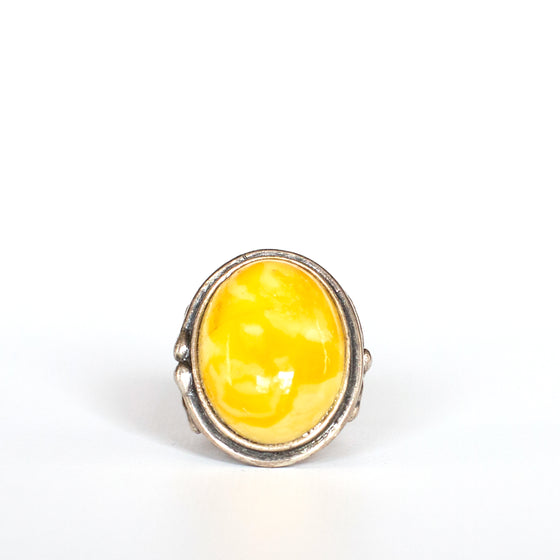 VINTAGE JEWELRY | STERLING JASPER RING (SIZE 6.25)