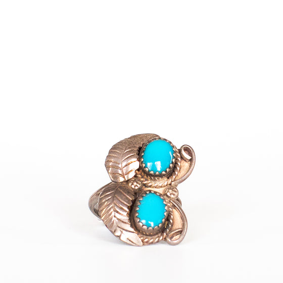 VINTAGE JEWELRY | STERLING TURQUOISE BUTTERFLY RING (SIZE 5.25)