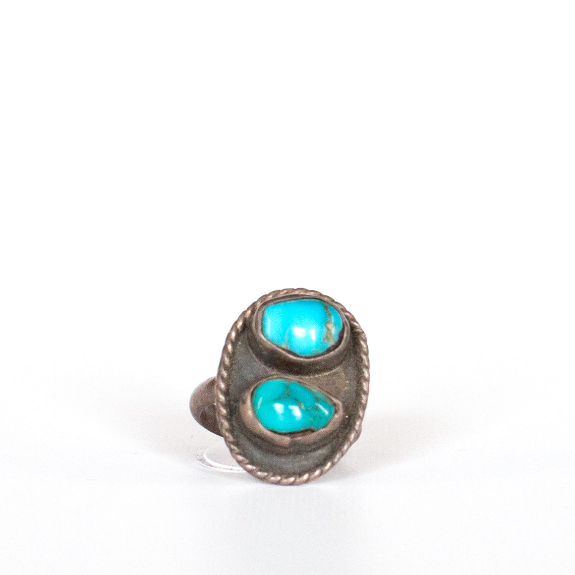 VINTAGE JEWELRY | STERLING DUAL-STONE TURQUOISE RING (SIZE 5.25)