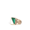 VINTAGE JEWELRY | WHITE & GREEN STONE STERLING RING (SIZE 6.5)