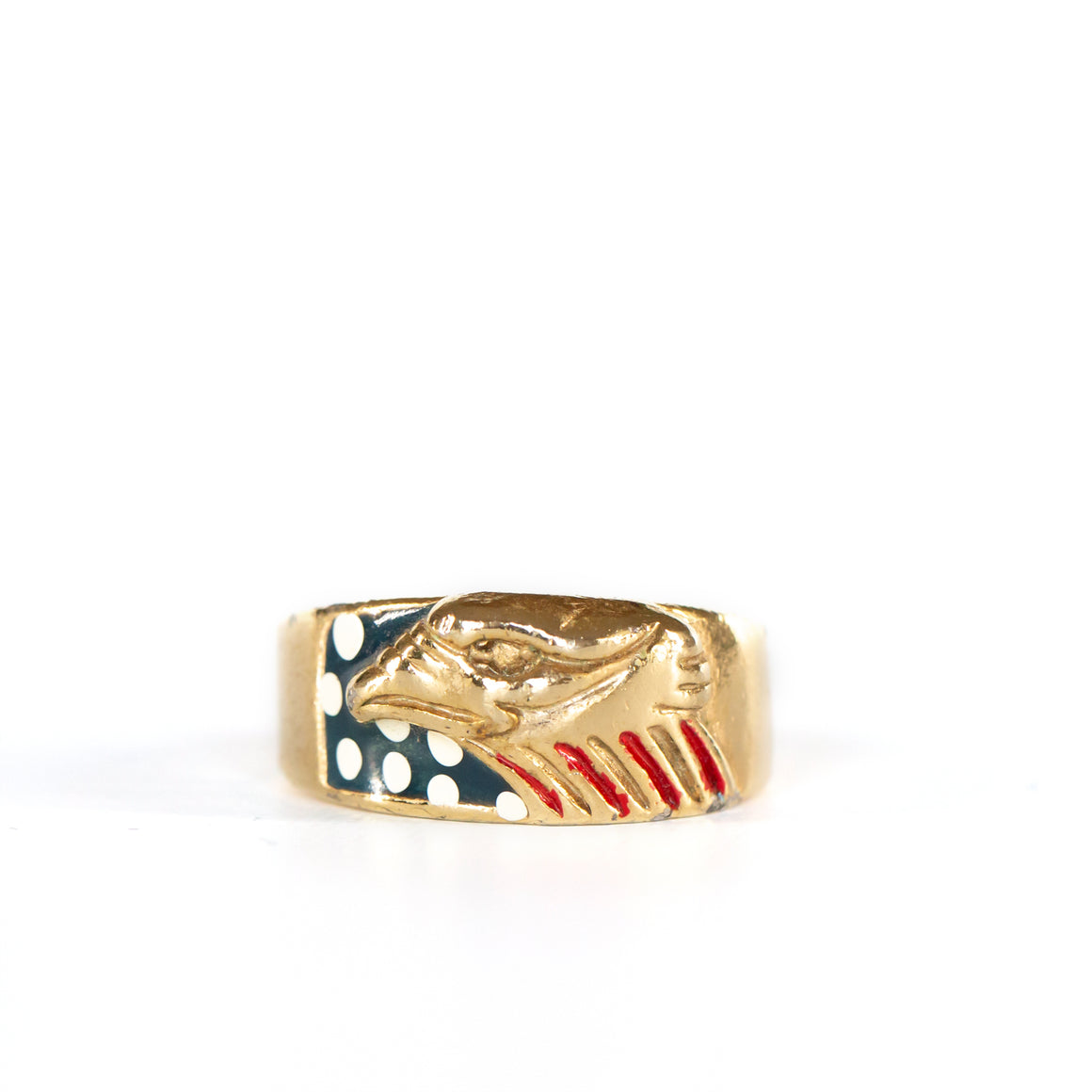 VINTAGE JEWELRY | GOLD-TONE STERLING USA EAGLE RING (SIZE 11.25)