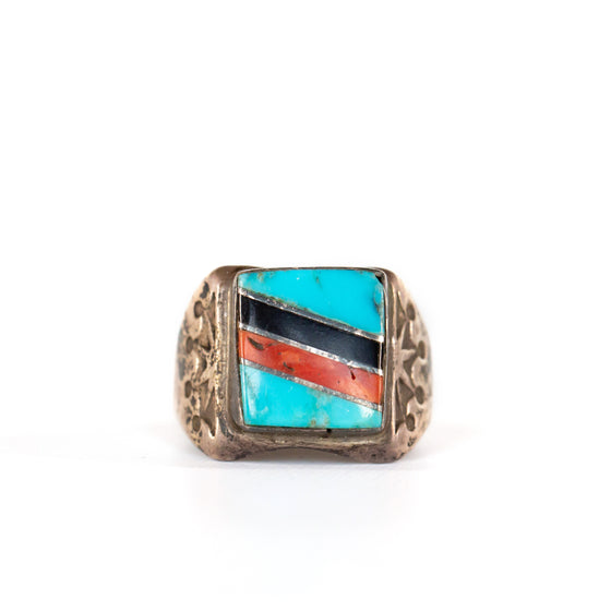 VINTAGE JEWELRY | TURQUOISE CORAL & ONYX STERLING RING (SIZE 10)