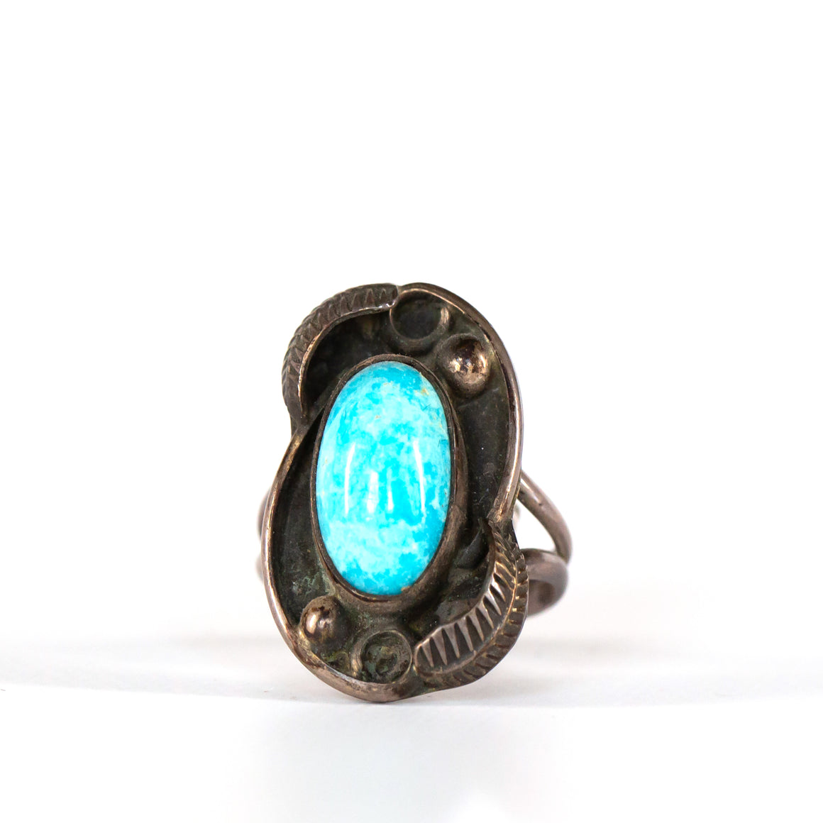 VINTAGE JEWELRY | STERLING TURQUOISE SHADOWBOX RING (SIZE 4.75)