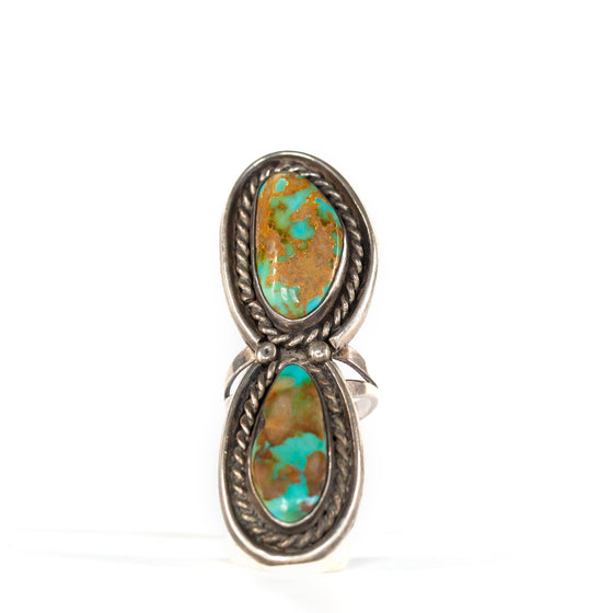 VINTAGE JEWELRY | DOUBLE STONE TURQUOISE STERLING RING (SIZE 6)