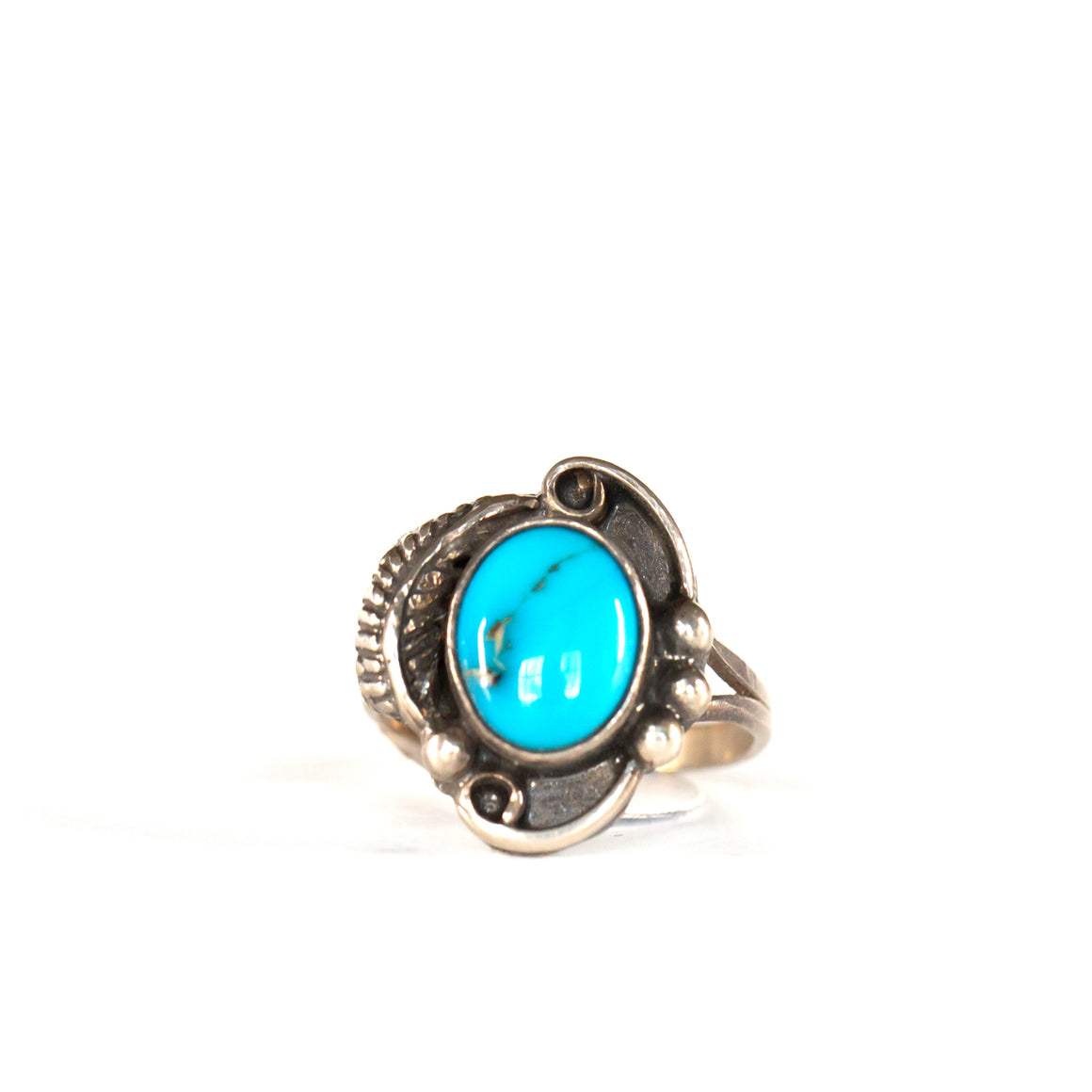 VINTAGE JEWELRY | TURQUOISE STERLING RING (SIZE 5.5)