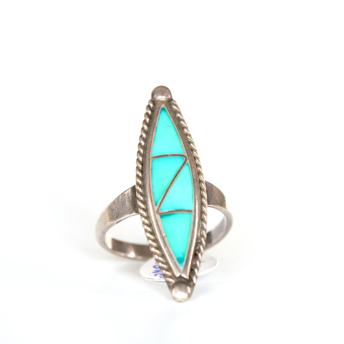 VINTAGE JEWELRY | ZUNI TURQUOISE STERLING RING (SIZE 7)