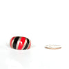 VINTAGE JEWELRY | RED & BLACK STERLING RING (SIZE 7.75)