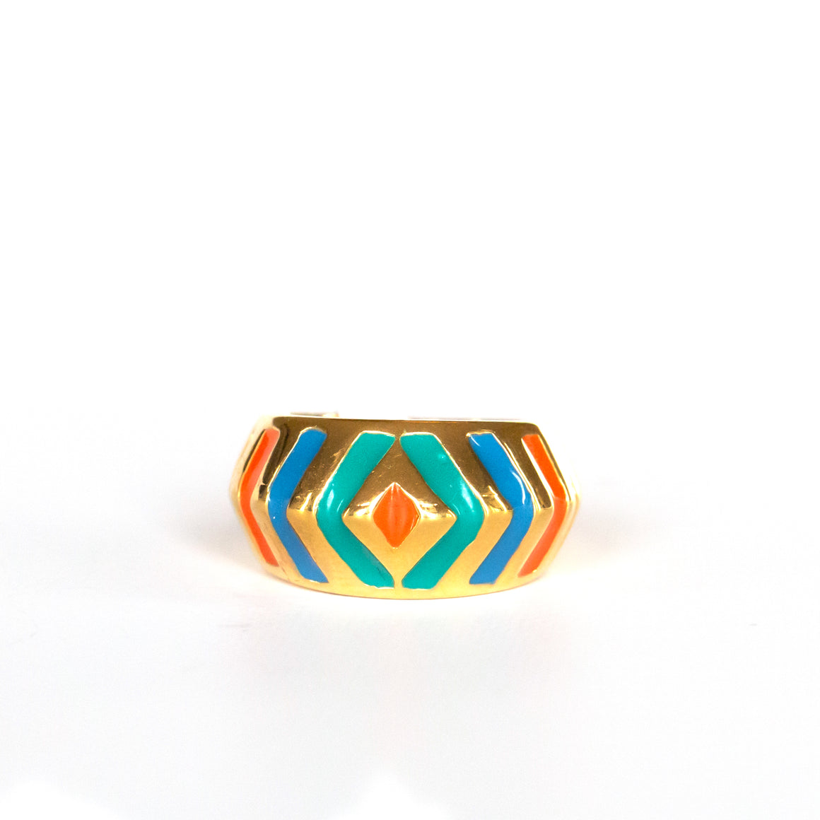 VINTAGE JEWELRY | GOLD-TONE PASTEL RING (SIZE 7)