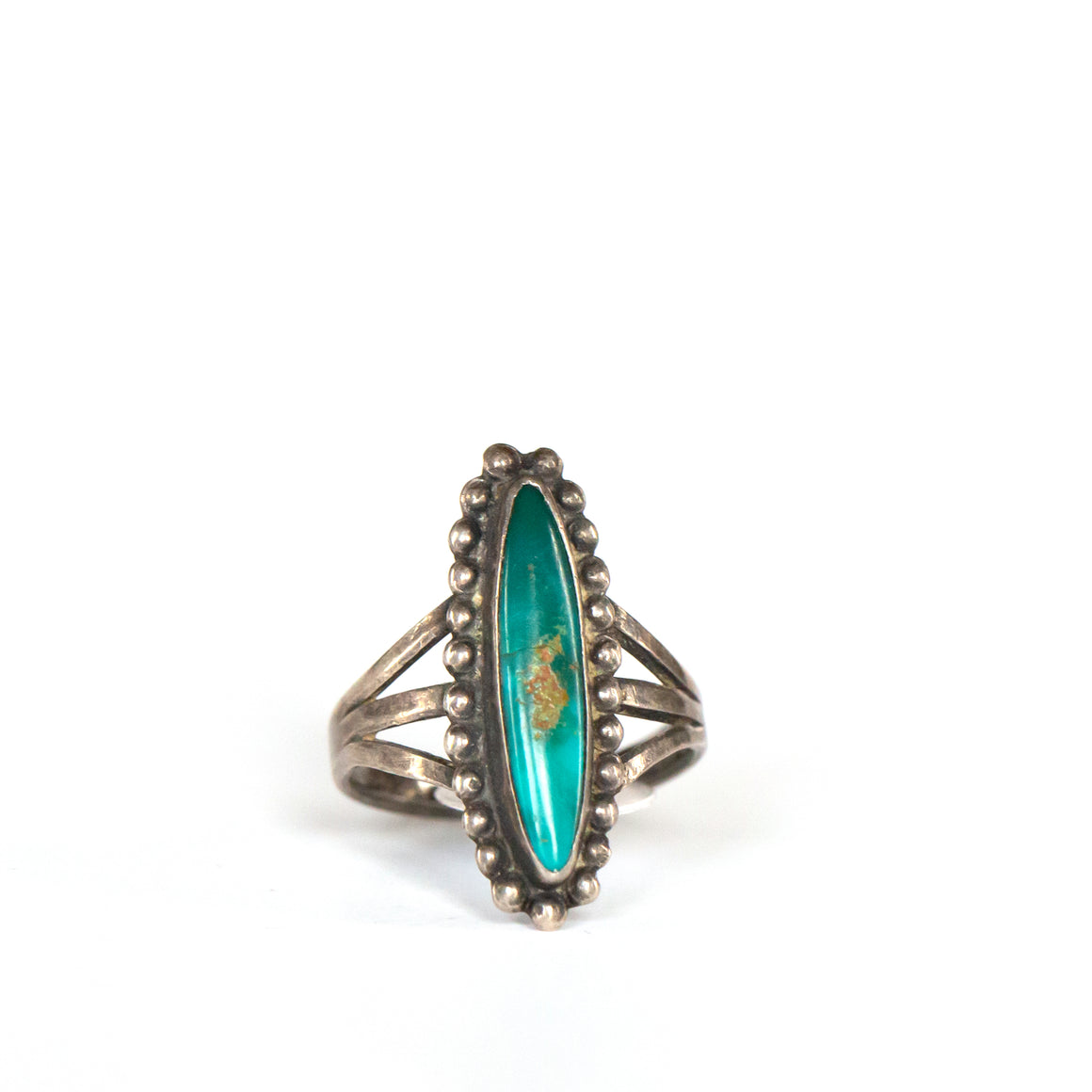 VINTAGE JEWELRY | SURFBOARD TURQUOISE STERLING RING (SIZE 6.25)