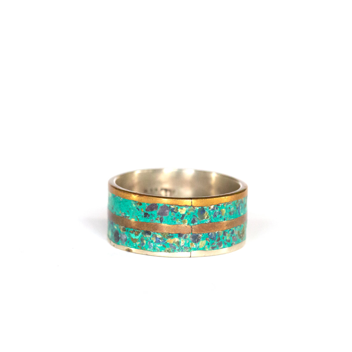 VINTAGE JEWELRY | GOLD-TONE STERLING TURQUOISE RING (SIZE 9)