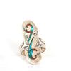 VINTAGE JEWELRY | LONG SPECKLED TURQUOISE & CORAL STERLING RING (SIZE 9)