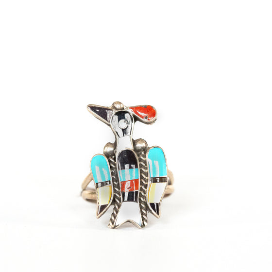 VINTAGE JEWELRY | ZUNI STERLING BIRD RING (SIZE 6.25)