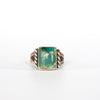 VINTAGE JEWELRY | STERLING GREEN STONE RING (SIZE 6.5)