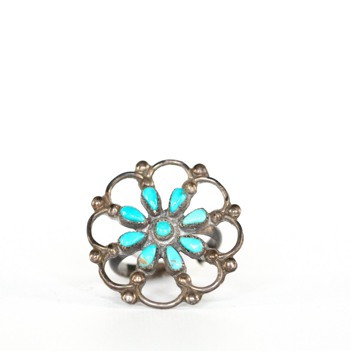 VINTAGE JEWELRY | STERLING TURQUOISE NEEDLEPOINT RING (SIZE 5.5)