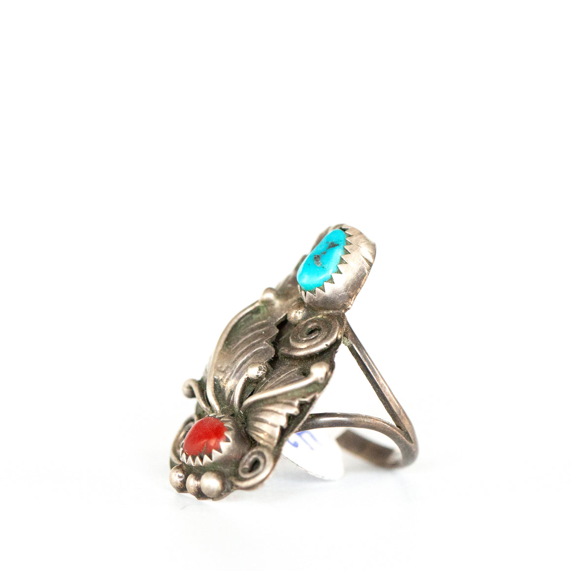 VINTAGE JEWELRY | STERLING TURQUOISE & CORAL FLOWER RING (SIZE 6)