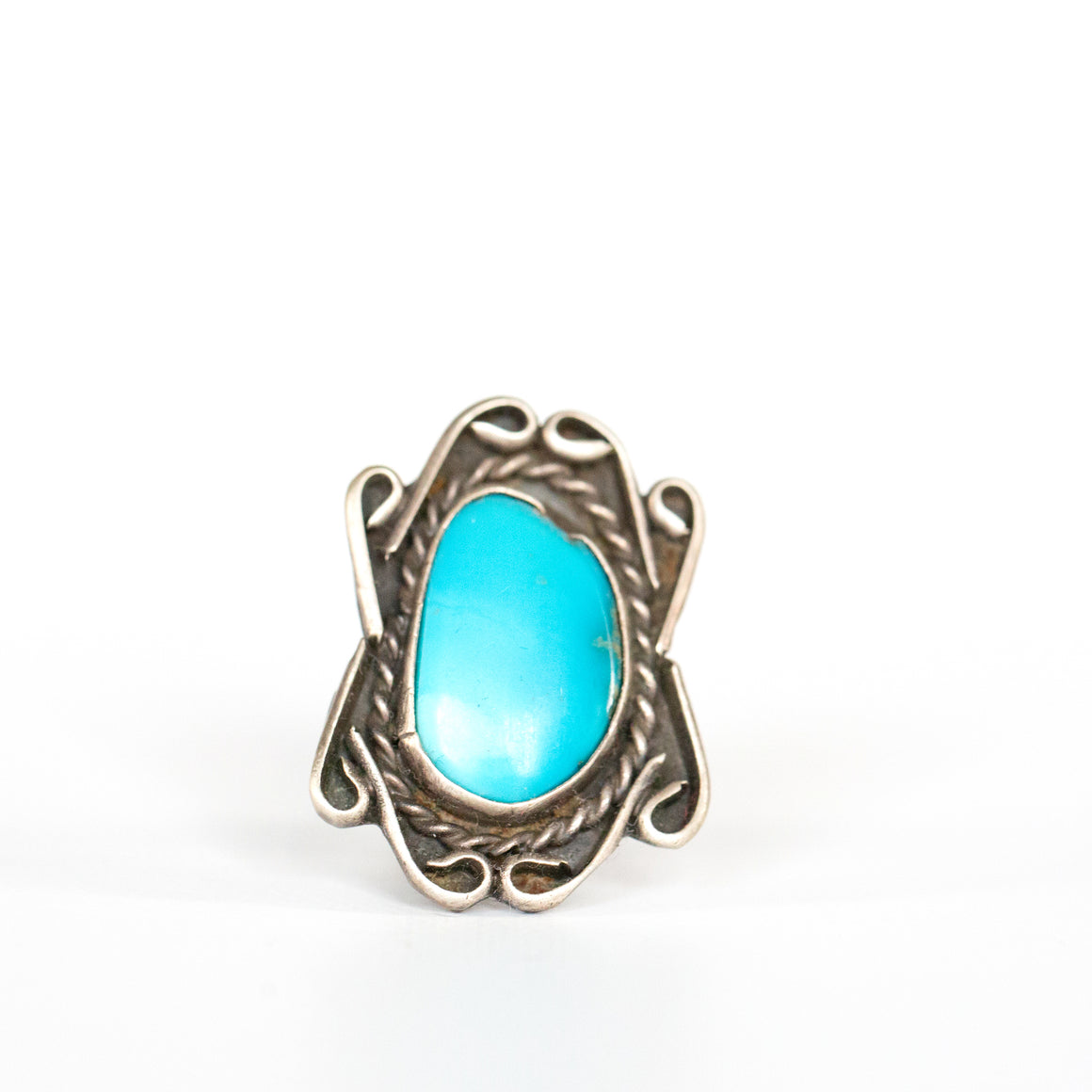 VINTAGE JEWELRY | LARGE TURQUOISE STERLING RING (SIZE 5)