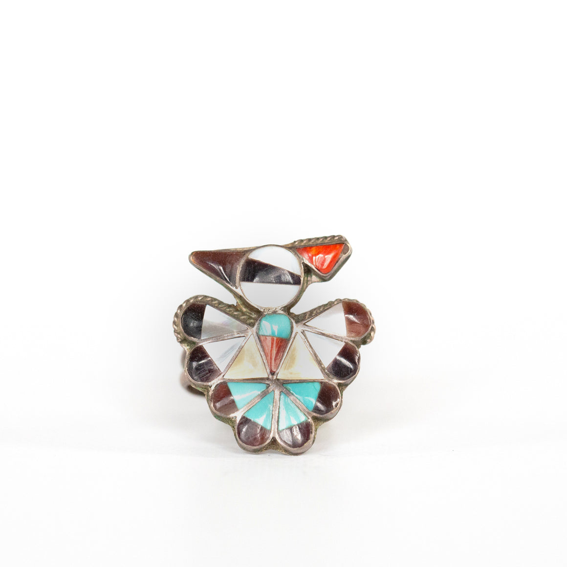 VINTAGE JEWELRY | ZUNI STERLING THUNDERBIRD RING (SIZE 6.5)