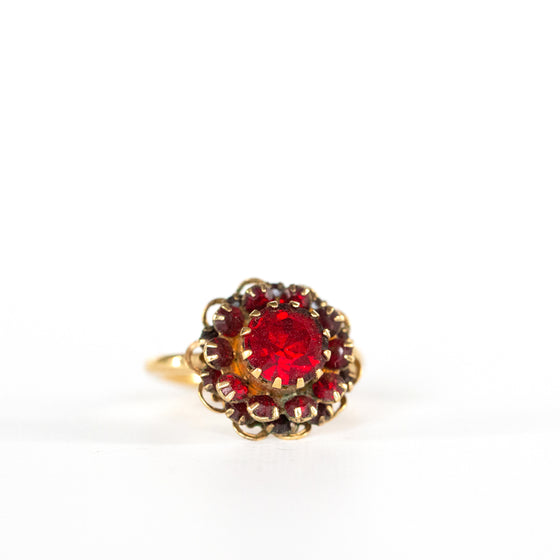 VINTAGE JEWELRY | SARAH COVENTRY RUBY COCKTAIL RING (SIZE 7.5)