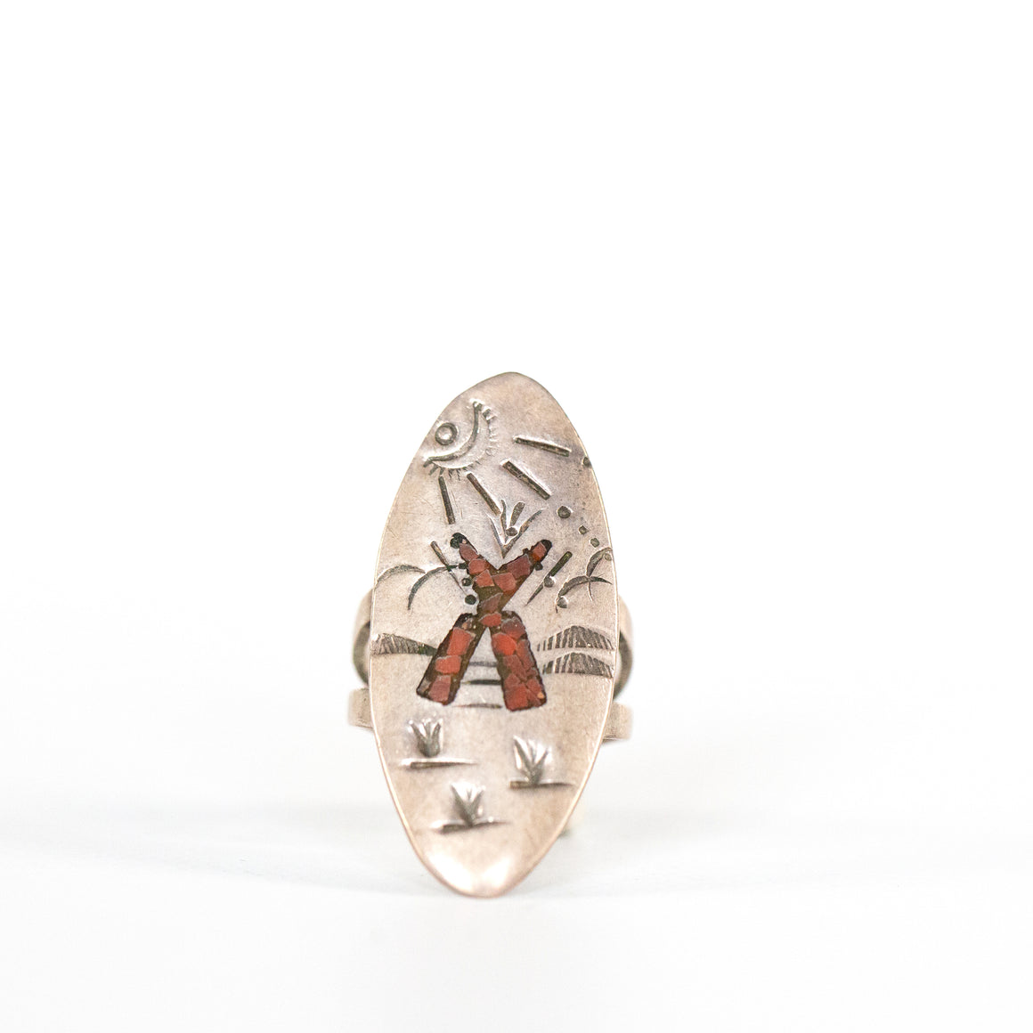 VINTAGE JEWELRY | STERLING CORAL SUNSET RING (SIZE 6)